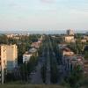 Вид с нагорной части на центр города и Азовское море...